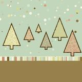Retro Christmas card with cute trees. EPS 8 Stock Images