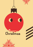 Retro Christmas card design. Vintage vector illustration. Royalty Free Stock Photography