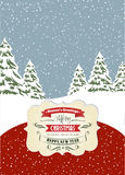 Retro Christmas card, format 7 inch/5 inch Royalty Free Stock Photo