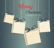 Retro Christmas card, gifts on stripes background. Royalty Free Stock Photos