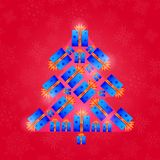 Retro Christmas Card with New Year Tree Royalty Free Stock Photo
