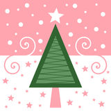 Retro Christmas Card [Pink] Royalty Free Stock Photo