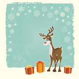 Retro Christmas card with reindeer Stock Photos
