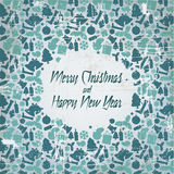 Retro christmas  card with seasonal pattern Royalty Free Stock Photos