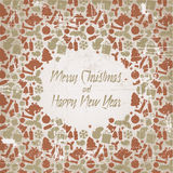 Retro christmas  card with seasonal pattern Royalty Free Stock Image