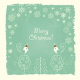 Retro Christmas card with snowflakes and birds Royalty Free Stock Image