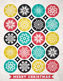 Retro Christmas card with snowflakes and greeting text, vector. Illustration royalty free illustration