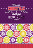 Retro Christmas card with snowflakes and greeting text, vector Stock Photography