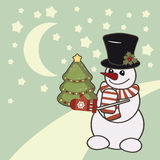 Retro Christmas card with a snowman. Stock Photo