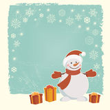 Retro Christmas card with snowman Stock Image