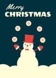 Retro christmas card snowman juggling Royalty Free Stock Image