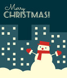 Retro christmas card snowman night city. Vector illustration. Retro styled Christmas card with a snowman in a night city. Vertical format vector illustration
