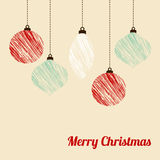 Retro christmas card with textured christmas balls,  Royalty Free Stock Photos