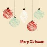 Retro christmas card with textured christmas balls, royalty free stock photos