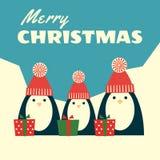 Retro christmas card three penguins square Stock Photography
