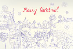Retro christmas card with town Stock Images