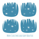 Retro Christmas card with window and snowflakes Royalty Free Stock Image