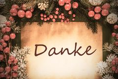 Retro Christmas Decoration, Danke Means Thank You royalty free stock photo
