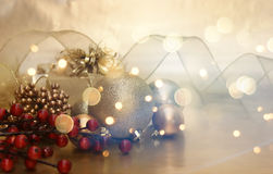 Retro Christmas decorations background Royalty Free Stock Photography