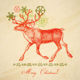 Retro Christmas deer Royalty Free Stock Photo