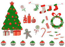 Retro Christmas Elements. Christmas tree, gifts, stockings, gingerbread man, candy cane Stock Photo