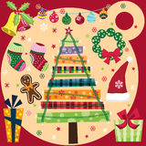 Retro Christmas Elements Set Stock Images