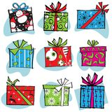 Retro Christmas Gift Boxes Icons. In many fun patterns Stock Photography