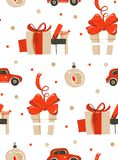 Retro Christmas Gift boxes. Seamless pattern Stock Photography
