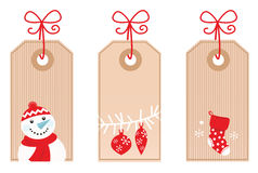 Retro Christmas Gift Tags ( red ). Cute Retro Christmas blank labels. Vector Illustration Royalty Free Stock Photography