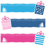 Retro Christmas Gifts Horizontal Banners. A collection of three Christmas horizontal banners with retro gifts on blue and pink background. Eps file available stock illustration