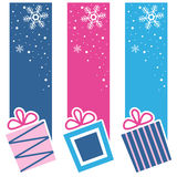 Retro Christmas Gifts Vertical Banners Stock Images