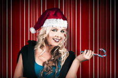 Retro Christmas Girl Holding Candy Cane Lolly Stock Images
