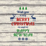 Retro Christmas Greeting Card With Colorful Typography Text. Royalty Free Stock Image