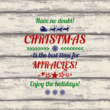 Retro Christmas Greeting Card With Colorful Typography Text. Royalty Free Stock Photography