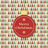Retro christmas greeting card. With hanging bauble Royalty Free Stock Image