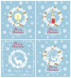 Retro Christmas greeting pastel blue cards collection with cut out paper fir wreath, red and gold candle, deer, snowflakes and  go. Retro Christmas greeting Royalty Free Stock Image