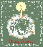 Retro Christmas greeting pastel green card with cut out paper fir wreath, snowflakes, candle, deer and winter landscape. Retro Christmas greeting pastel green Royalty Free Stock Photography