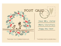 Retro christmas greeting postcard with birds, holly wreath Stock Photos