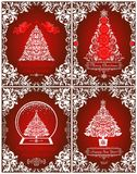 Retro Christmas greeting red cards collection with cut out paper angels, floral vintage border, Christmas tree and globe Stock Image