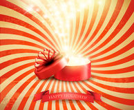 Retro Christmas holiday background with open gift box. And magic light firework. Vector Stock Photo