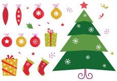 Retro christmas icons and elements set. Christmas icons set: christmas tree, presents and balls. Vector elements isolated on white background Stock Image