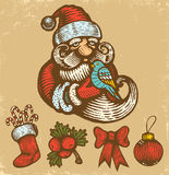 Retro Christmas icons Royalty Free Stock Photography