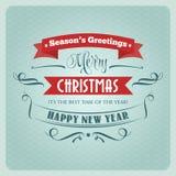 Retro Christmas illustration - holidays type design Stock Photos