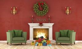 Retro christmas interior with fireplace Stock Photos