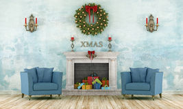 Retro christmas interior Stock Photos