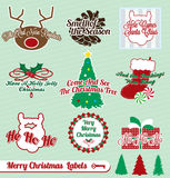 Retro Christmas Labels and Stickers. Collection of vintage style Christmas labels and badges Stock Photos