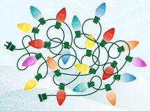 Free Retro Christmas Lights Tangle On Snowy Background Royalty Free Stock Photo - 108132785