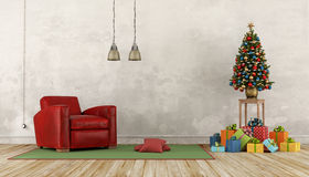 Retro Christmas living room Stock Photo