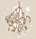Retro christmas mistletoe Royalty Free Stock Image