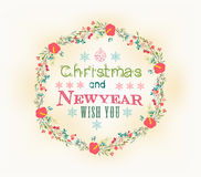 Retro christmas and new year card Royalty Free Stock Photos